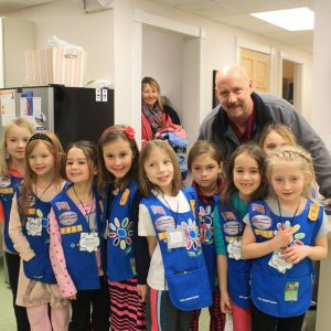 Dr. Hanks with Girls Scouts