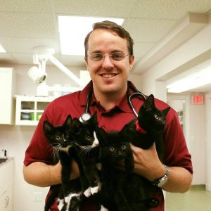 Dr. Barry with a handful of kittens!